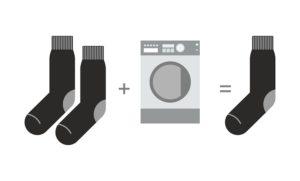Socken verschwinden in der Waschmaschine