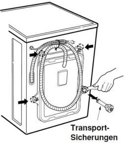 Transportsicherung einer Waschmaschine